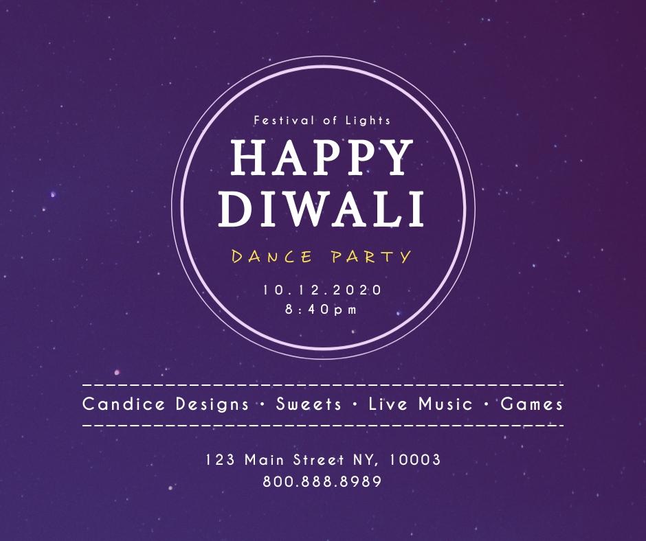 Diwali Dance Party Facebook Post Template