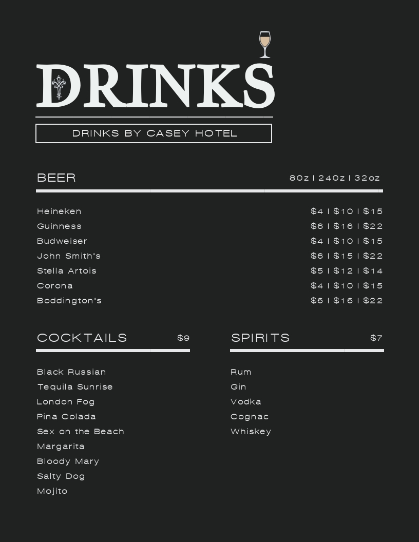 Drinks - Menu Template