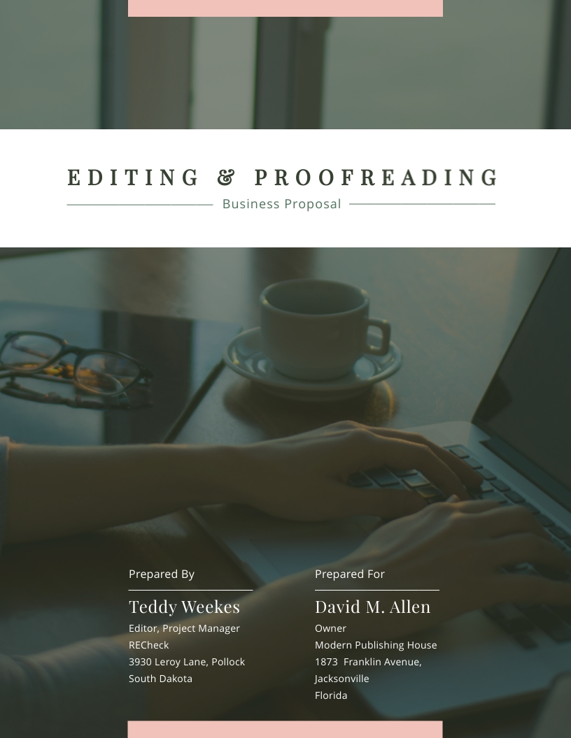 Editing and Proofreading Business - Proposal Template