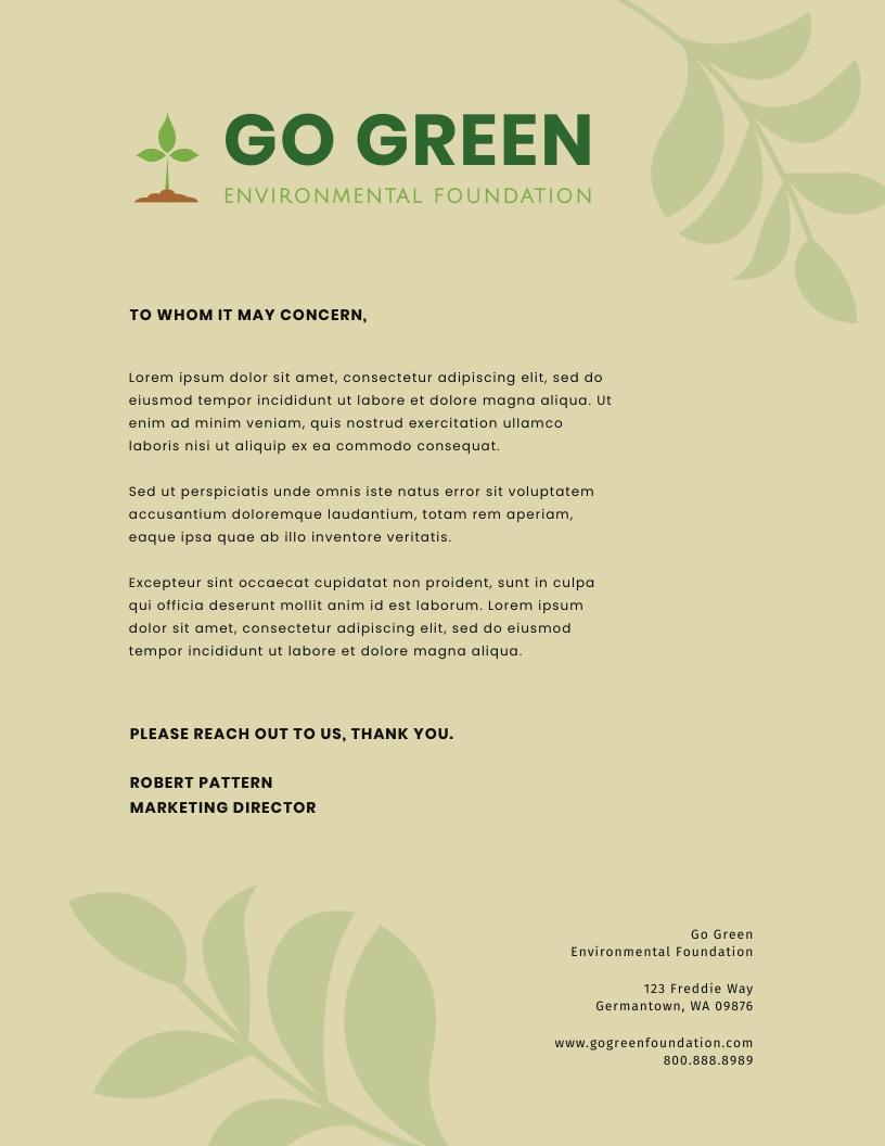 Environmental Charity - Letterhead Template