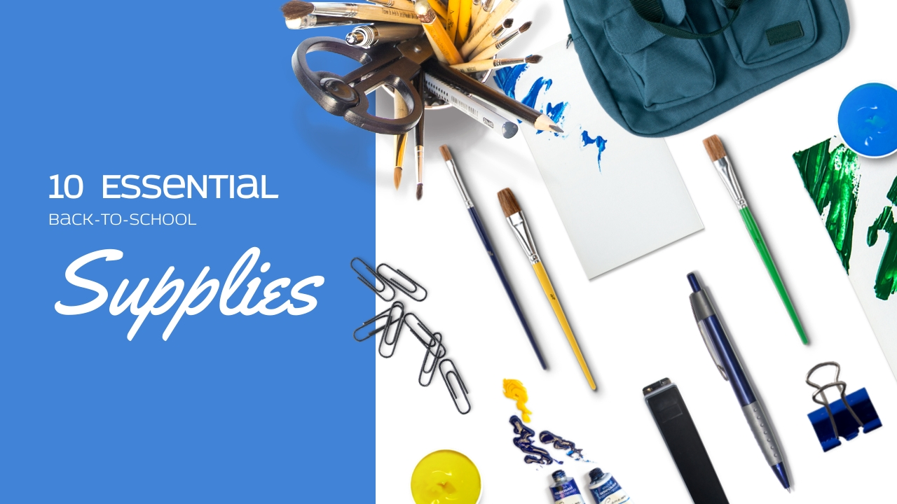 Essential Back to School Supplies Youtube Video Cover Template