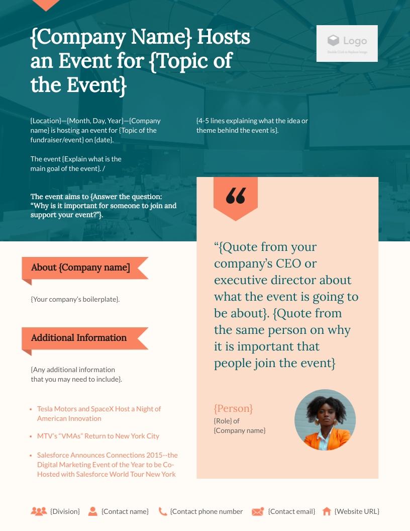 Event Press Release Template   Visme