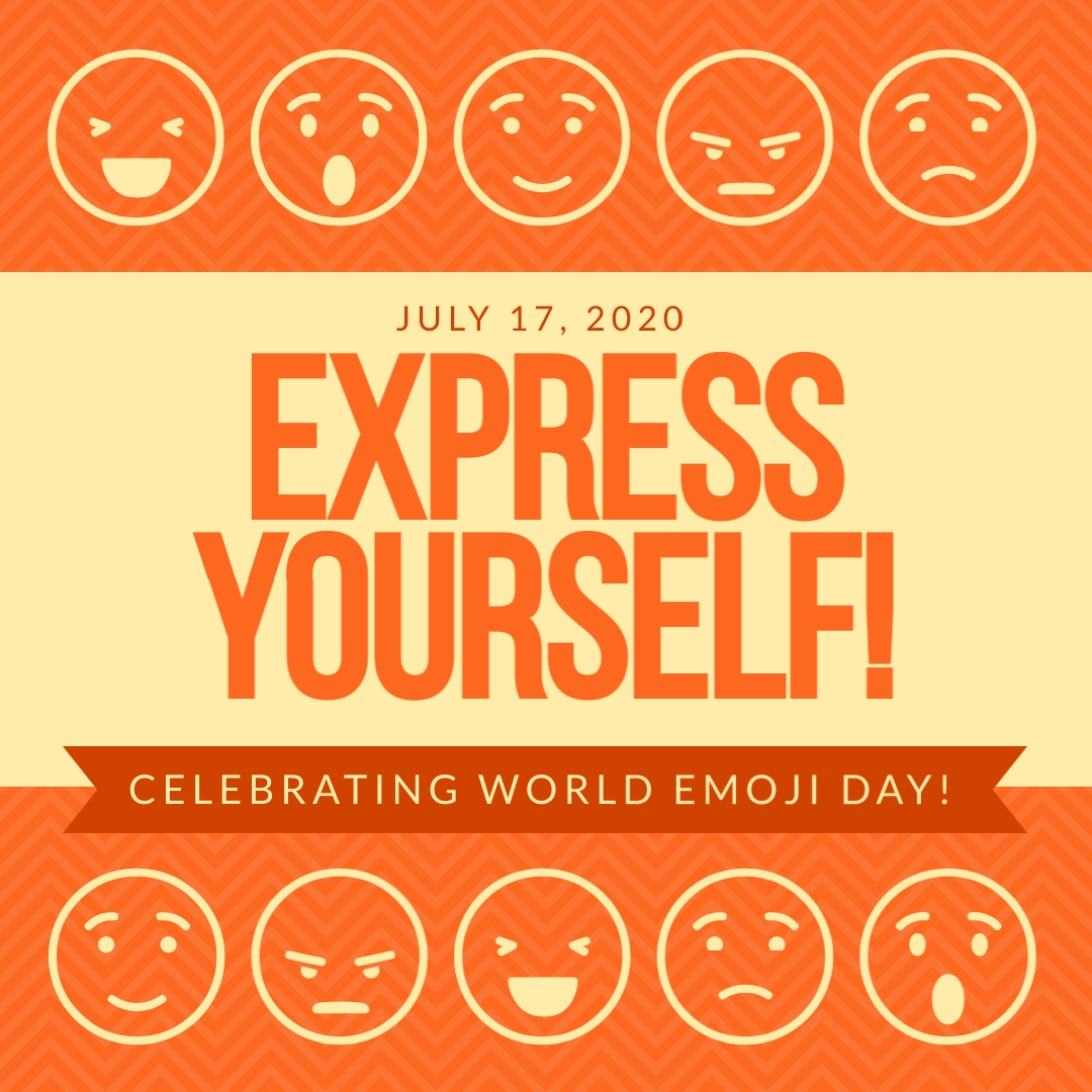 Express Yourself Emoji Day Animated Square Template