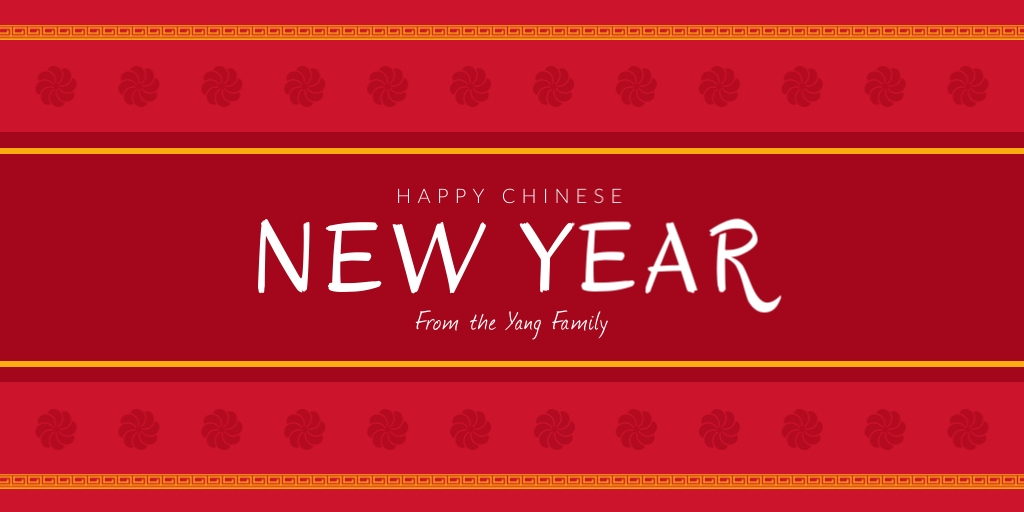 Family Chinese New Year Twitter Post  Template