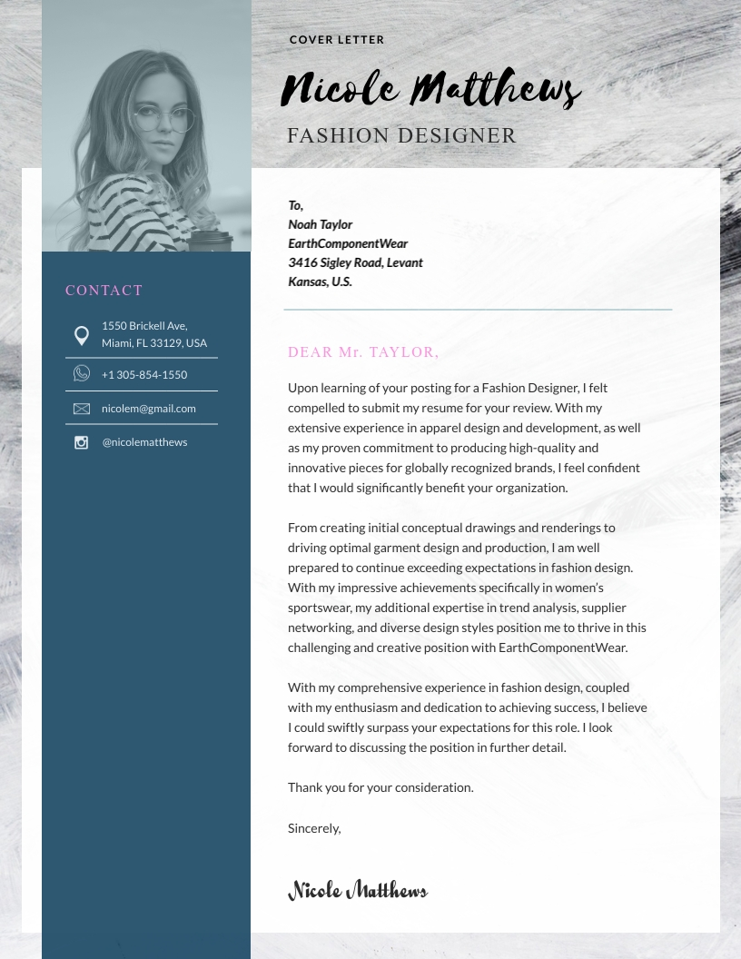 Fashion Designer Cover Letter Template Visme