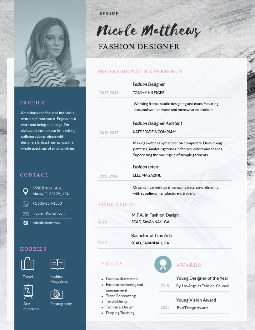 Fashion Designer Resume Template Visme