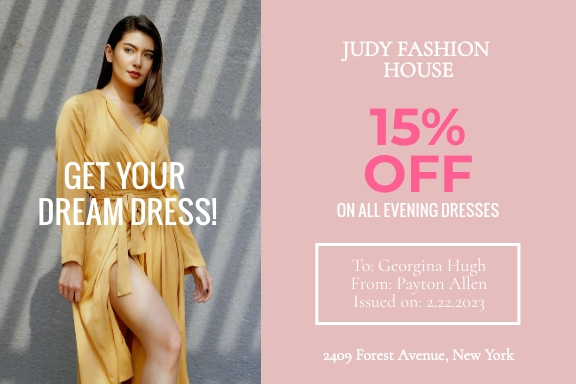 Fashion House Gift Certificate Template