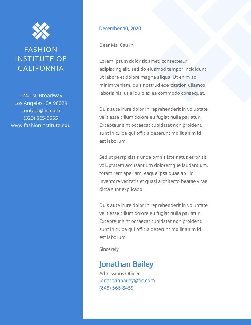 Fashion Institute - Letterhead Template