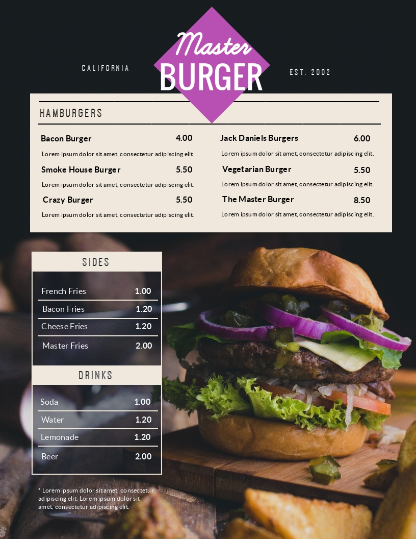 Fast Food - Menu Template