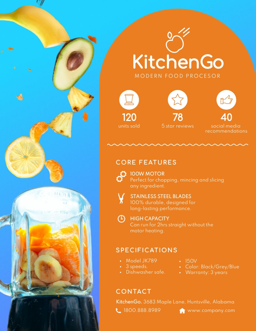 Food Processor Product Sell Sheet Template