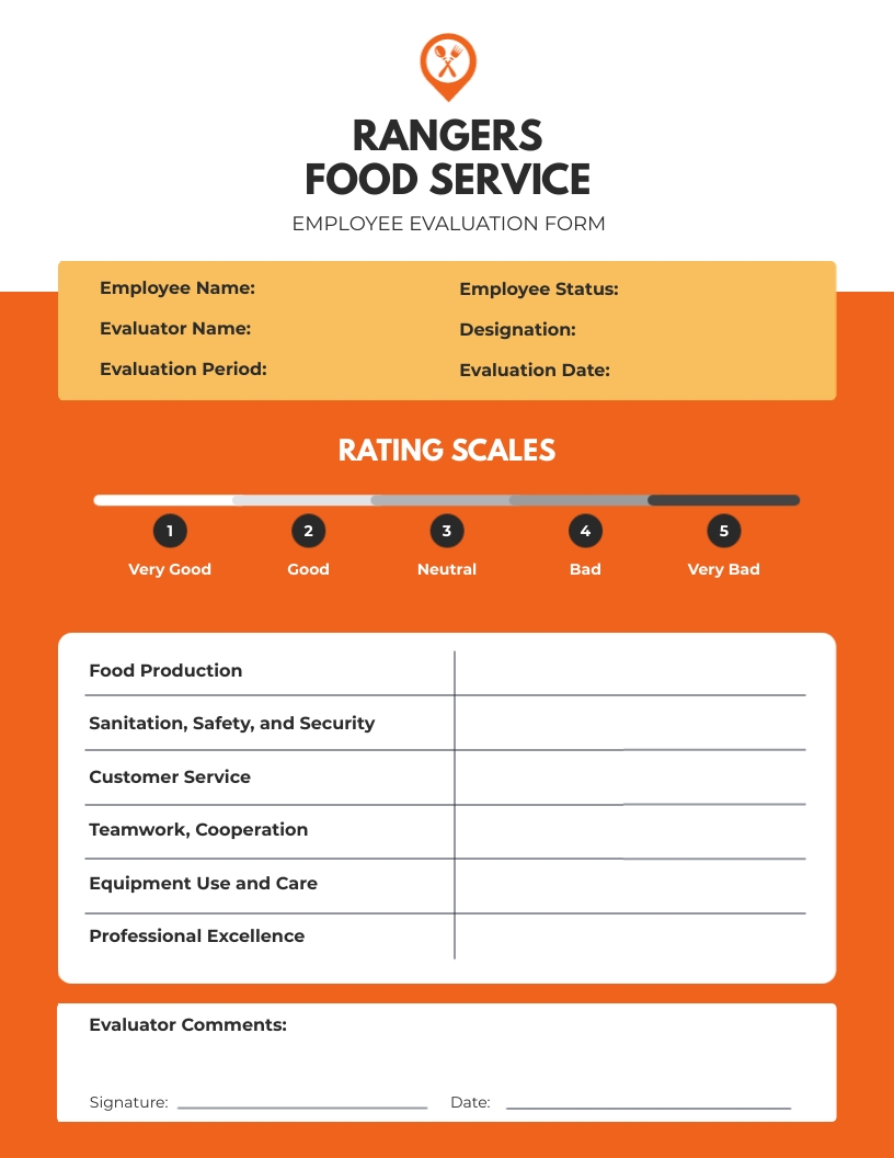 Food Service Performance Review Template