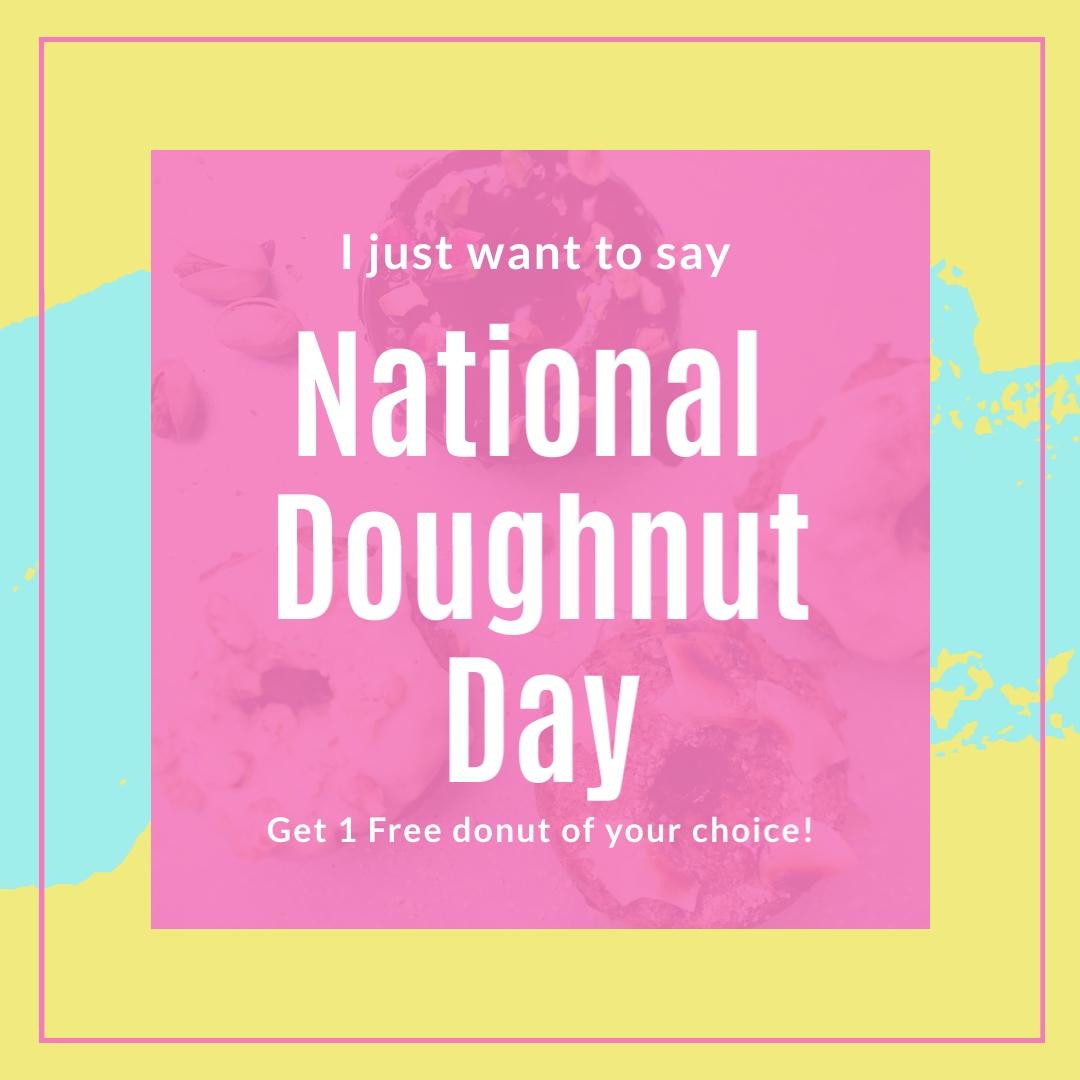 Free Doughnut National Doughnut Day Square Template