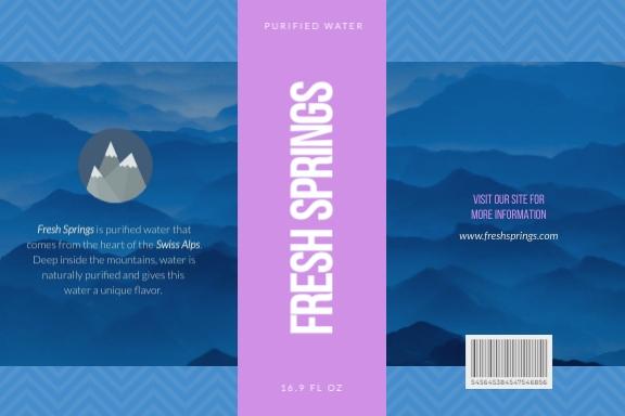 Fresh Springs Water Bottle Label Template
