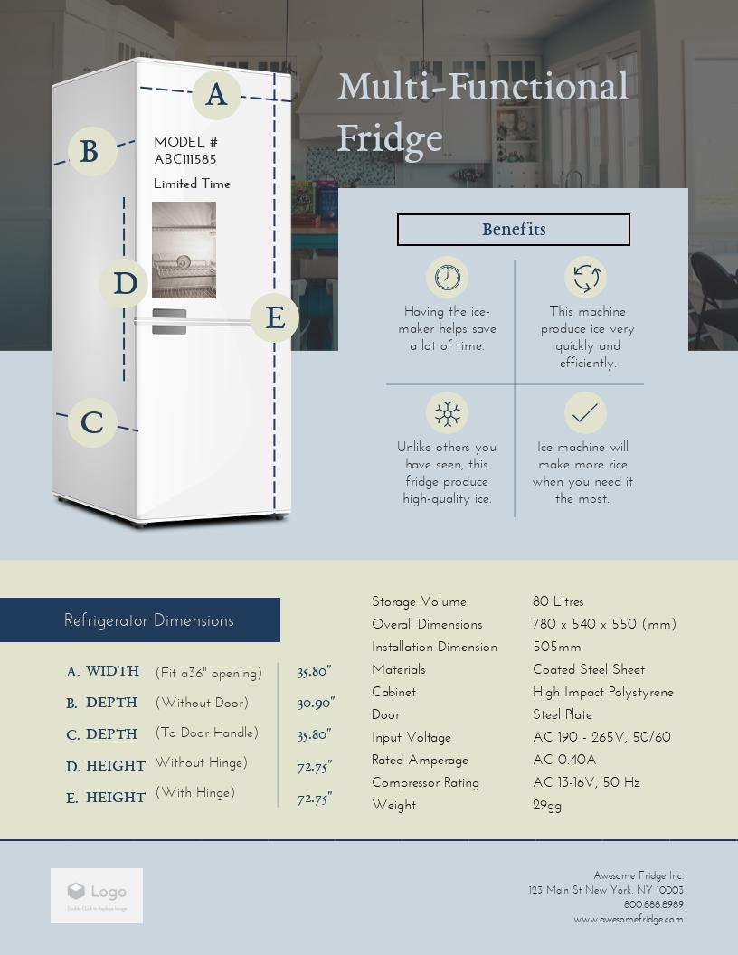 Fridge - Product Sell Sheet Template