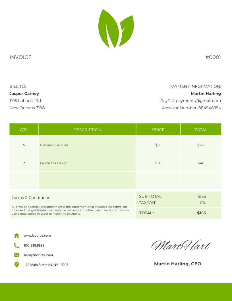Gardening - Invoice Template
