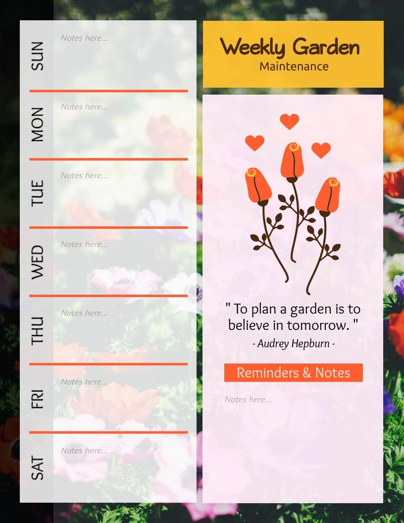 Gardening Weekly Planner Template Visme