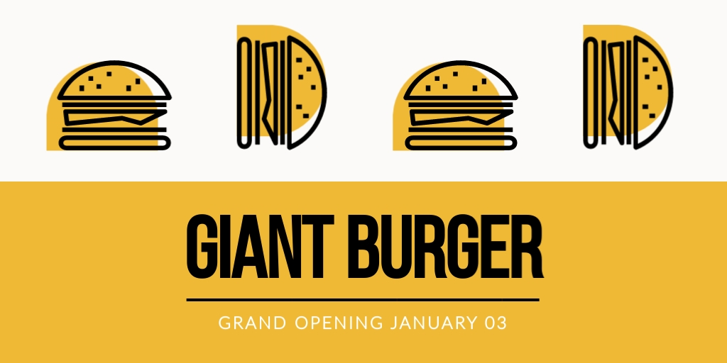 Giant Burger Opening Twitter Ad  Template