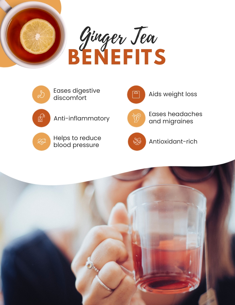 Ginger Tea Benefits Flyer Template