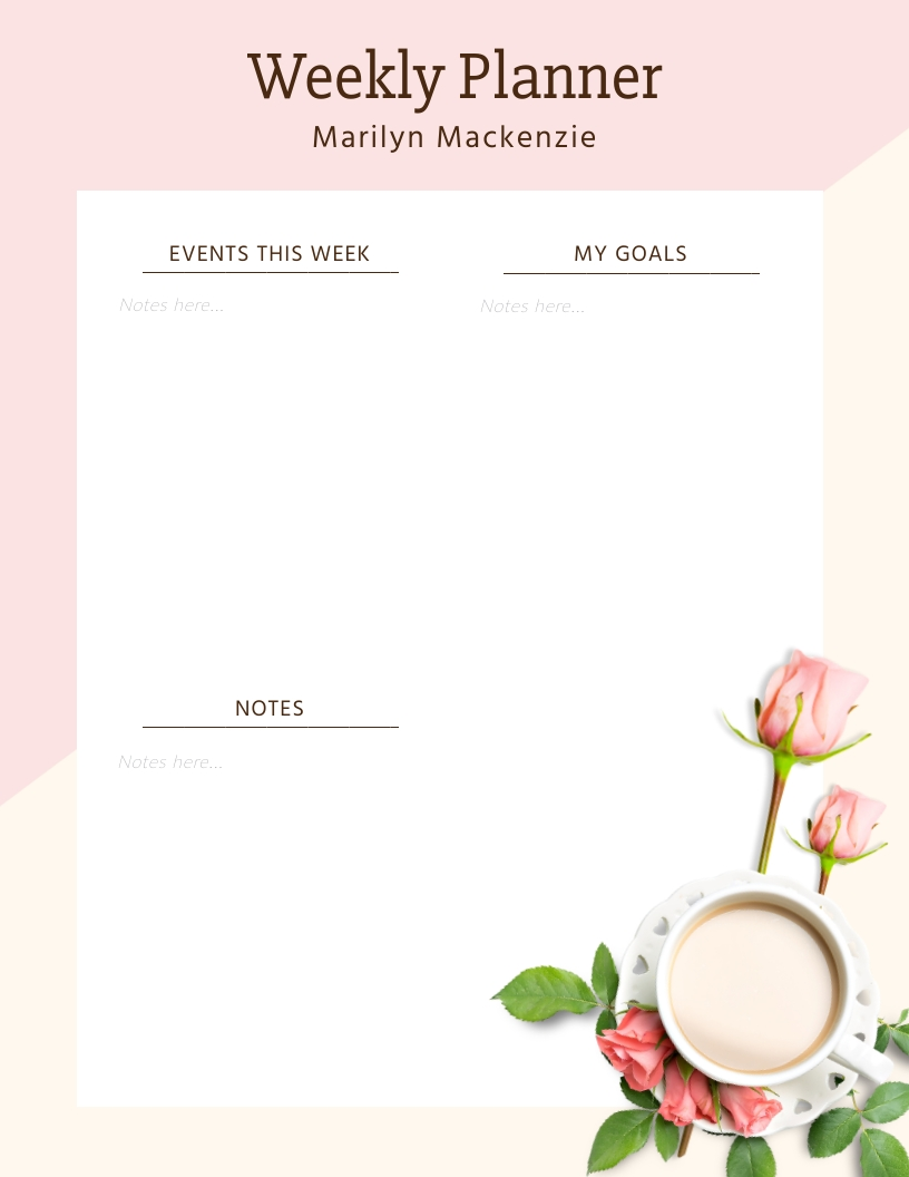 Girly Weekly Planner Template