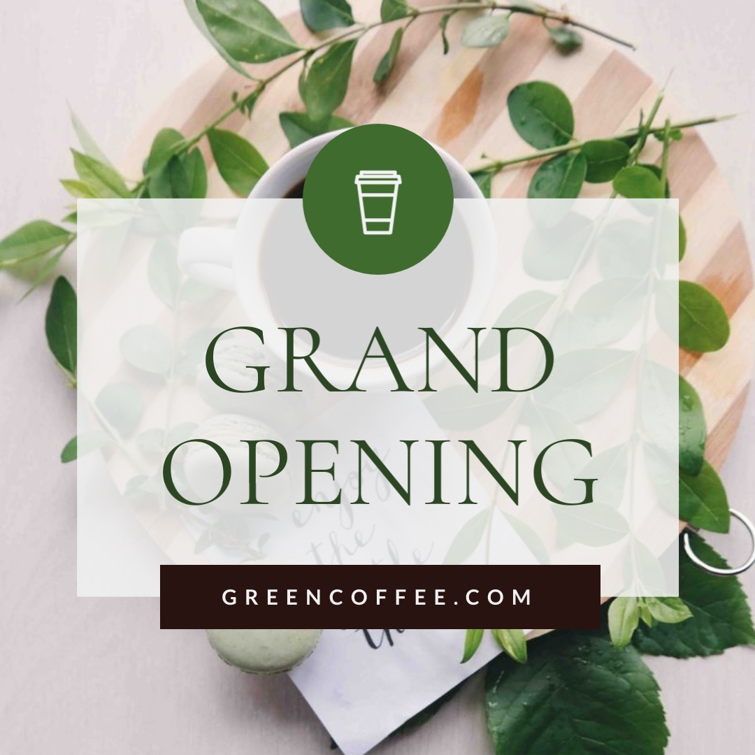 Green Coffee Grand Opening Animated Square Template