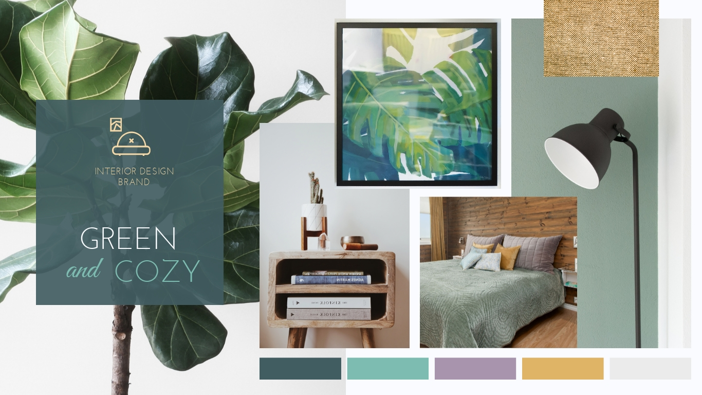 Green and Cozy Design Moodboard Template