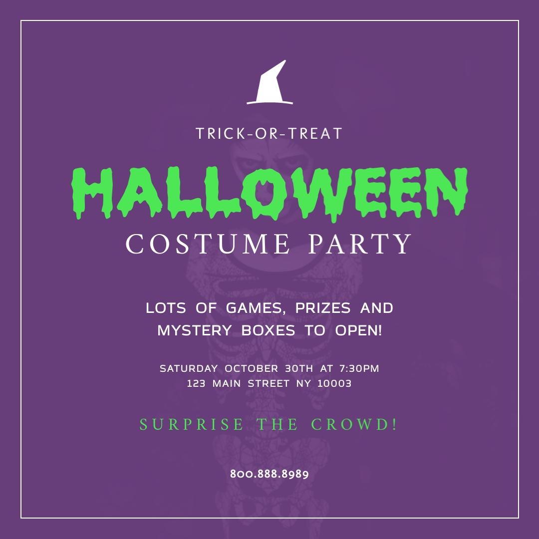Halloween Costume Party Blog Graphic Medium Template