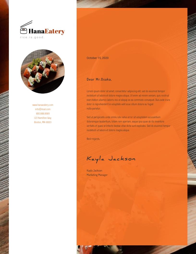 HanaEatery Letterhead Template