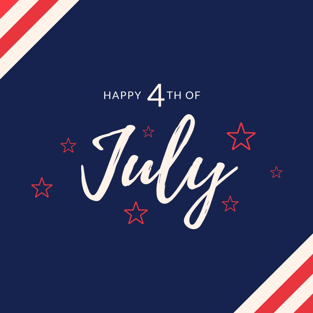 Happy 4th of July Shining Stars Square Template