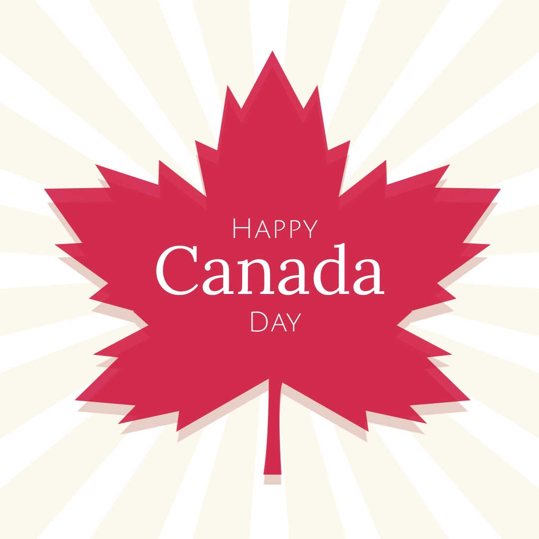 Happy Canada Day Maple Leaf Square Template
