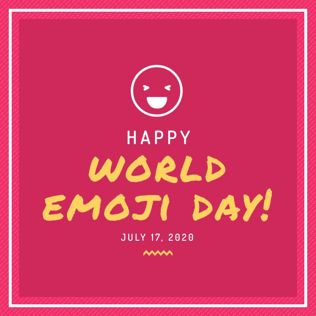 Happy Emoji Day Magenta Animated Square Template
