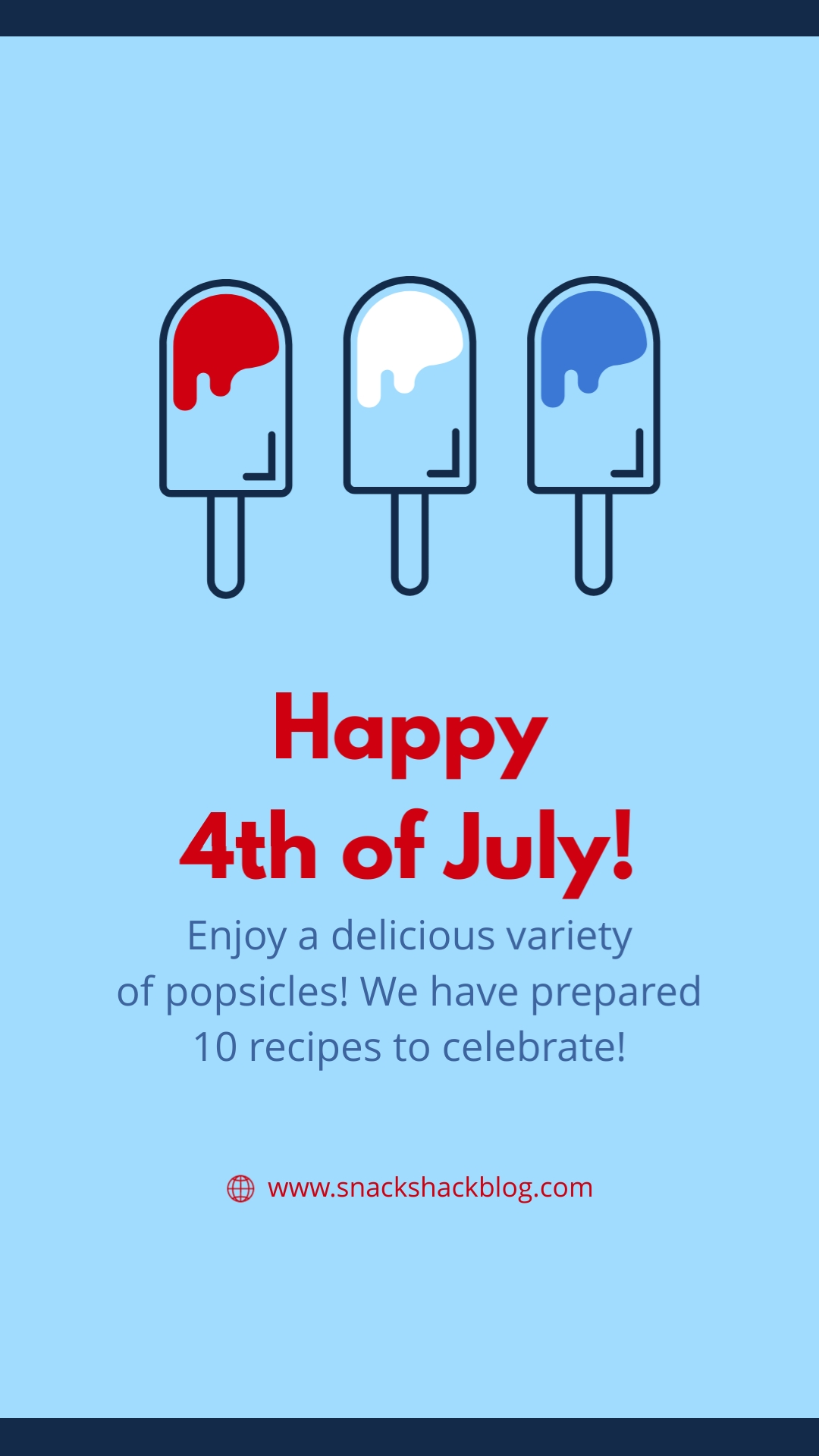 Happy Fourth Popsicles Animated Vertical Template