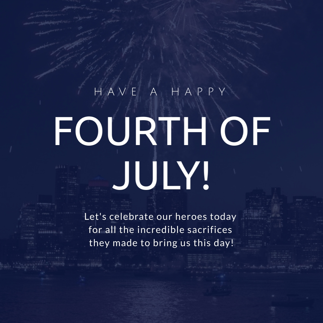 Happy Fourth of July Celebrate Heroes Square Template