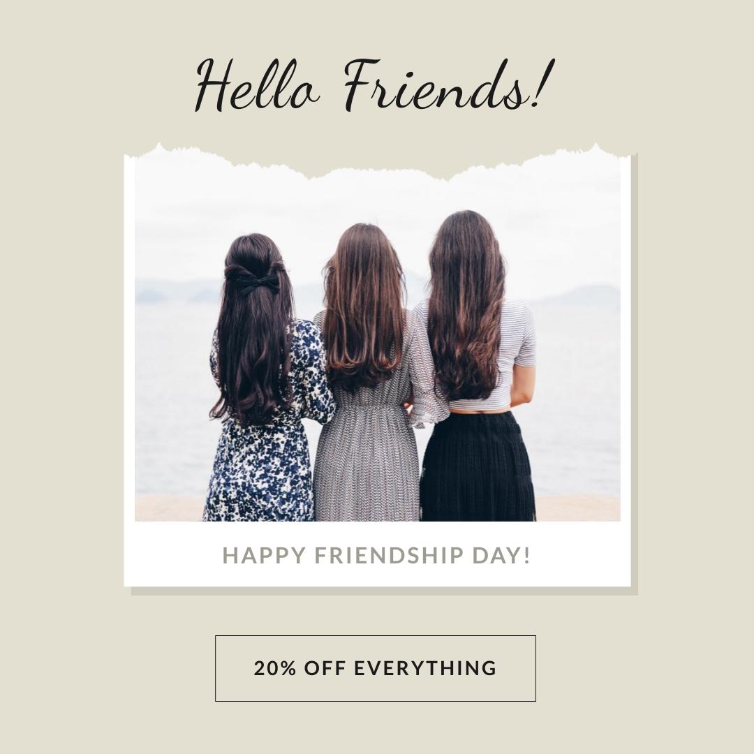 Happy Friendship Day Hello Friends Square Template