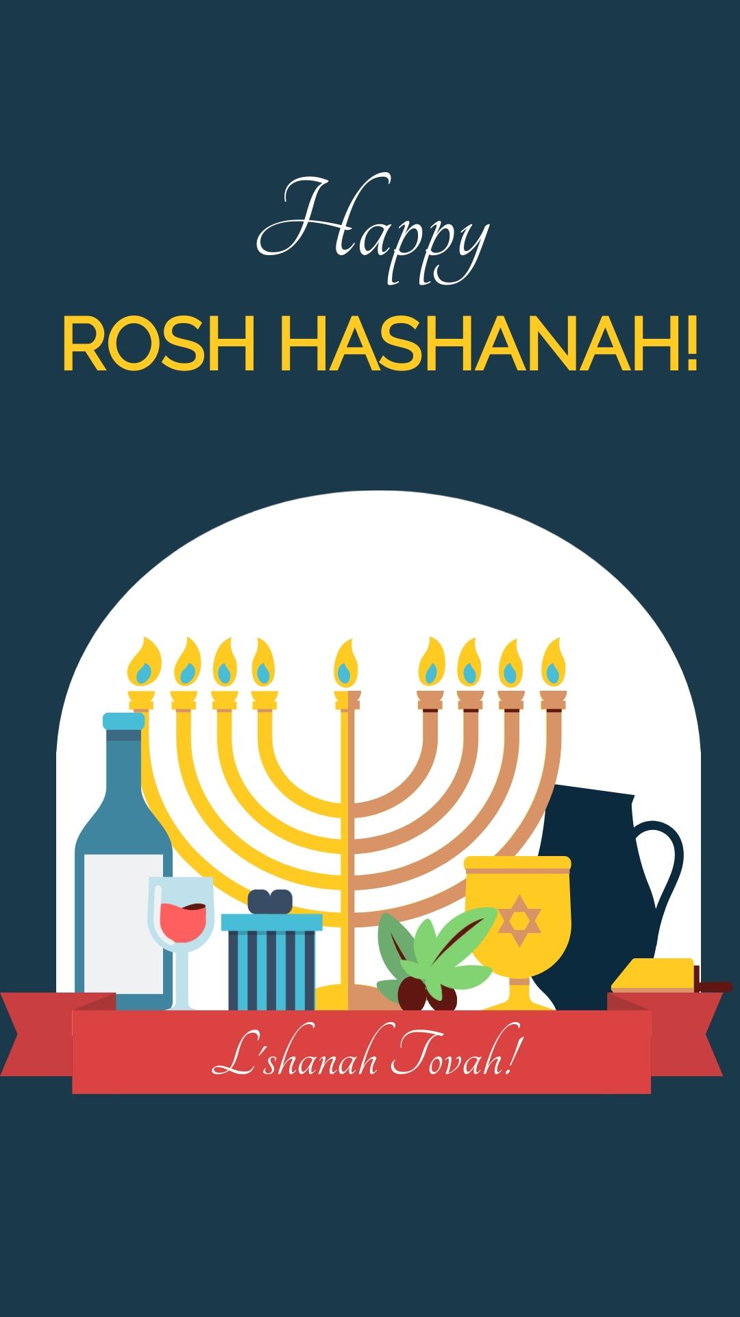 Happy Rosh Hashanah Animated Vertical Template