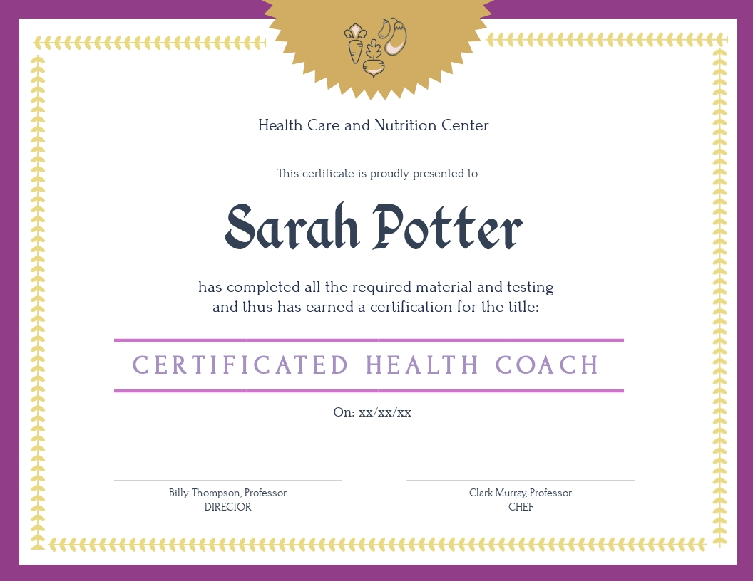 Health Care and Nutrition Center - Certificate Template
