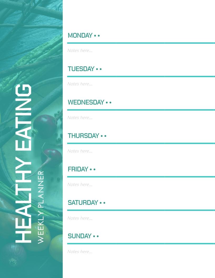 Healthy Eating Weekly Planner Template
