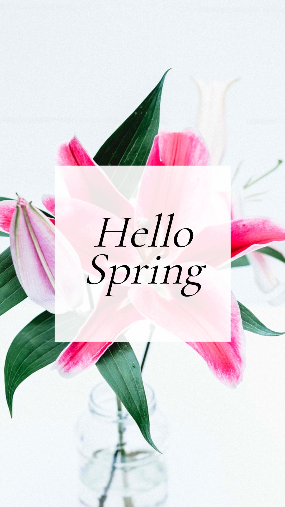 Hello Spring Phone Wallpaper Template