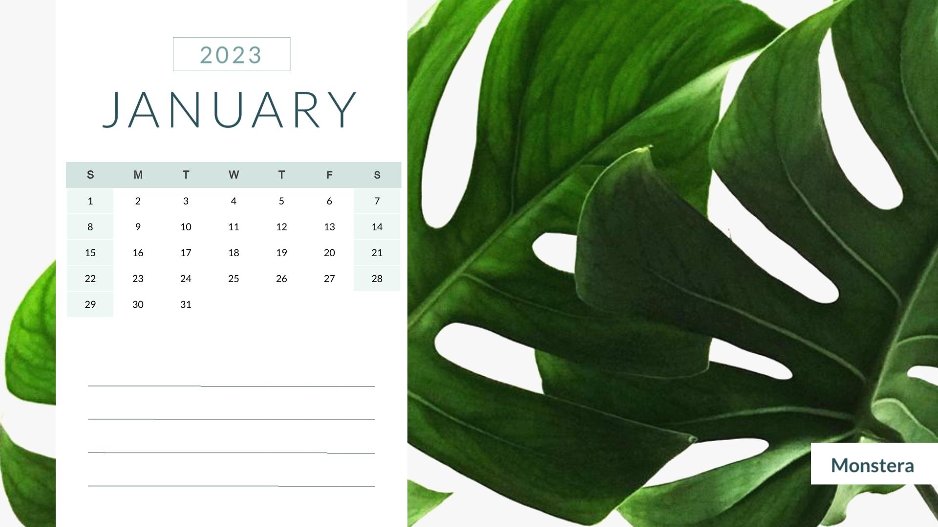 Houseplant - Calendar Template