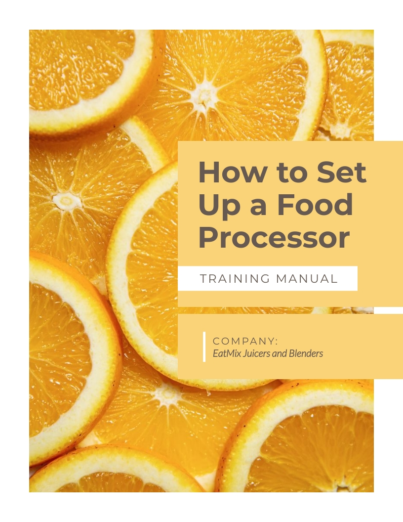 How To Set Up A Food Processor - Training Manual Template