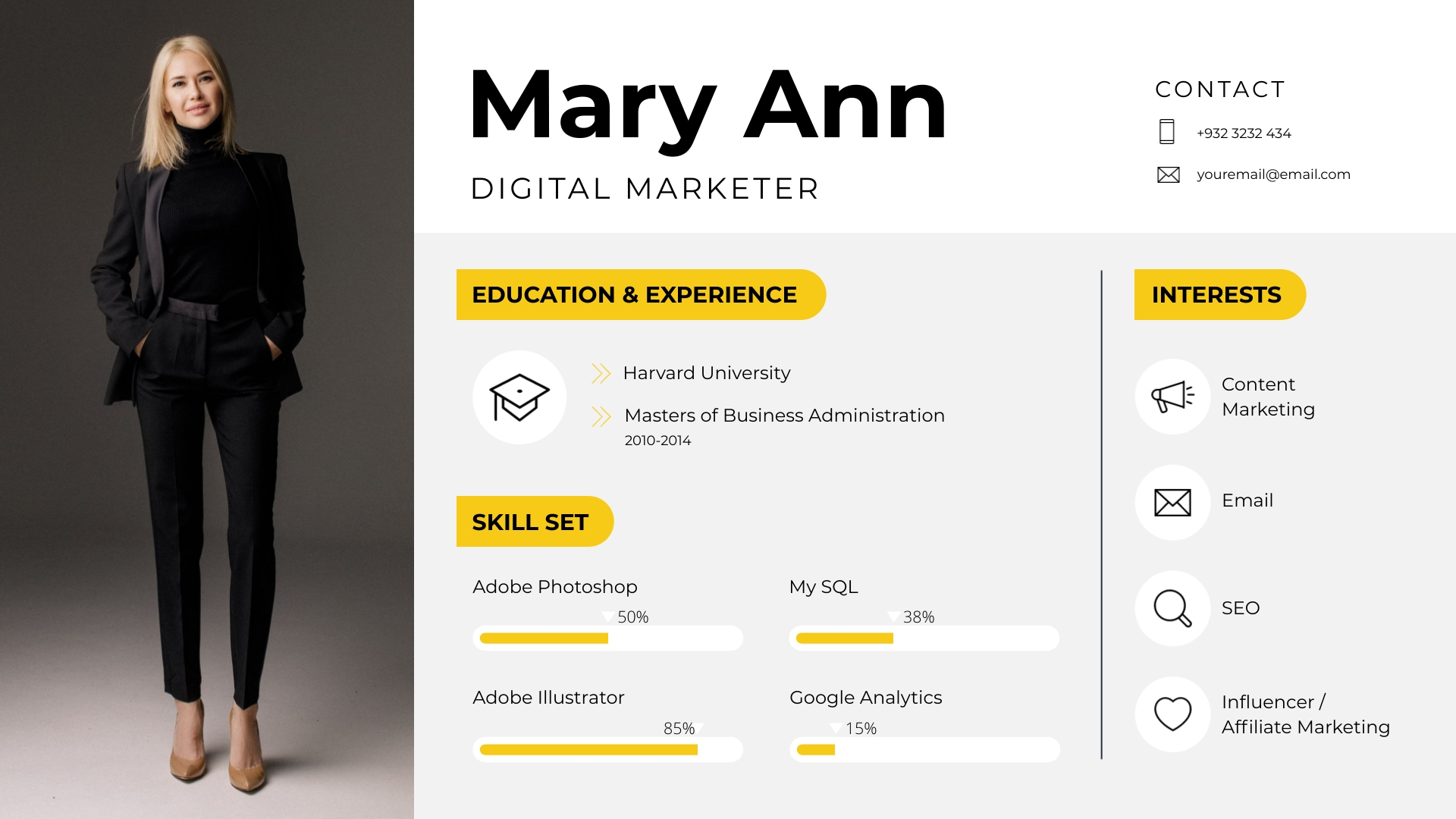 Icon Resume Pictograph Template