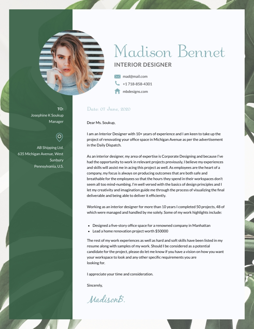 Interior Design Cover Letter Template Visme