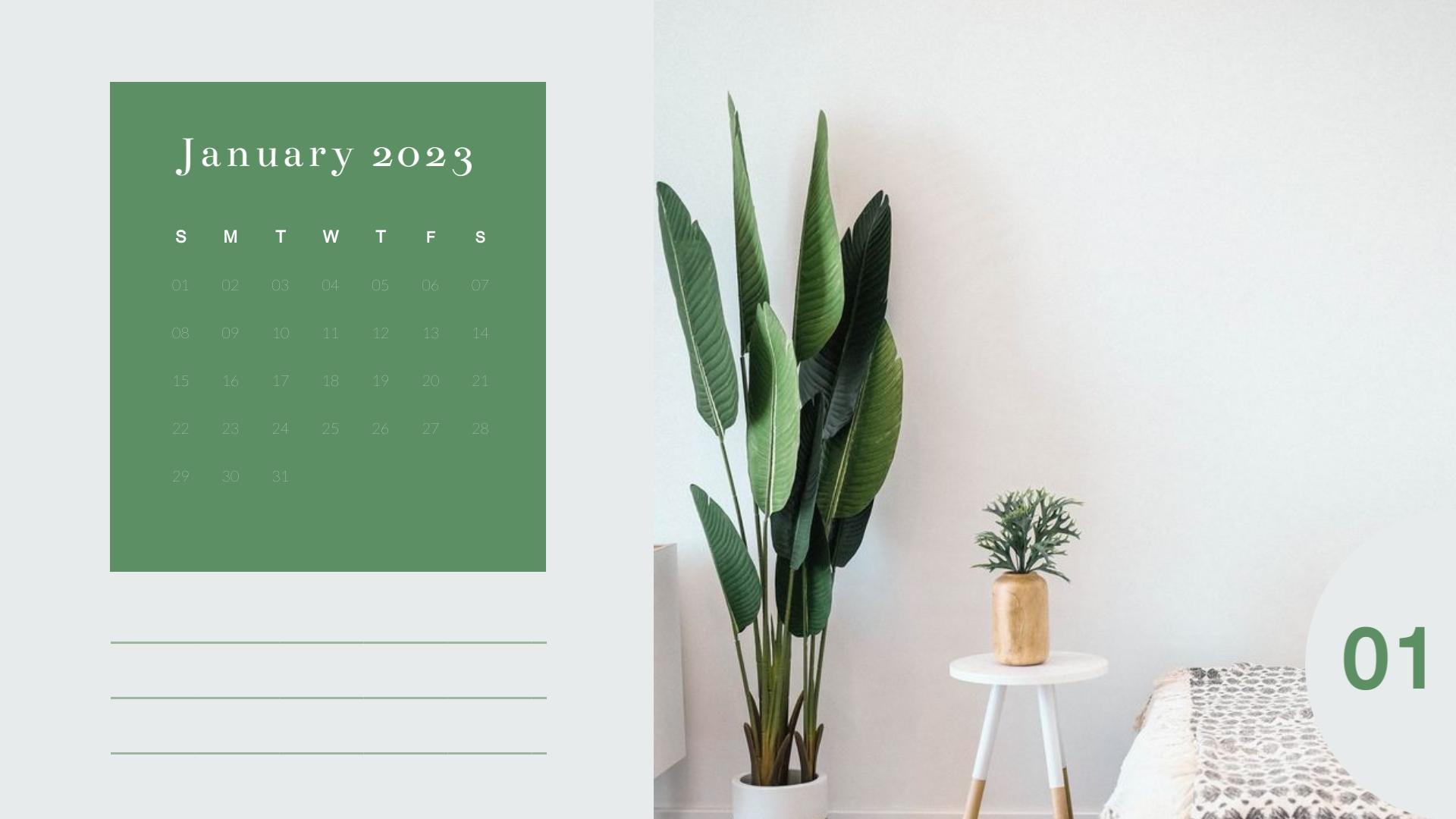 Interior Design - Calendar Template