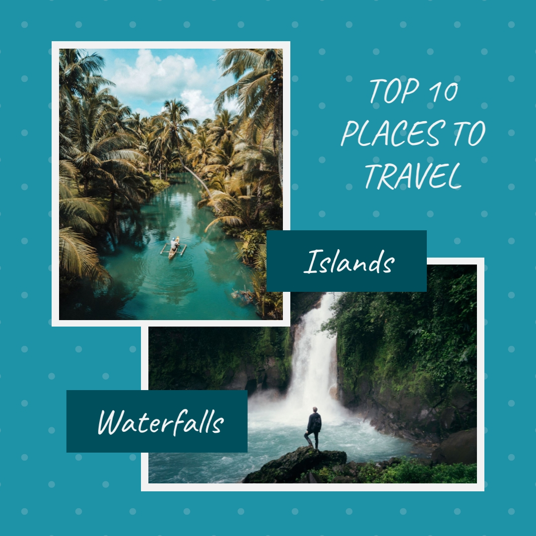 Islands and Waterfalls Travel Animated Square Template