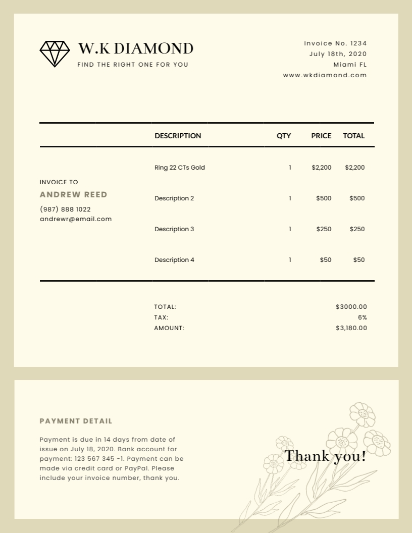 Jewelry - Invoice Template