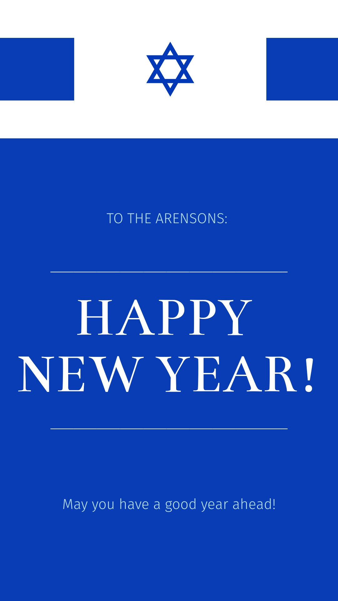 Jewish New Year Wish Animated Vertical Template