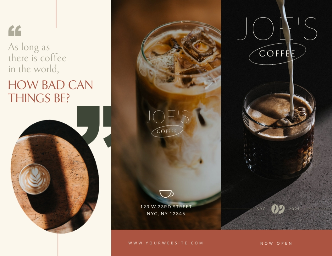 Joe's Coffee - Trifold Brochure Template