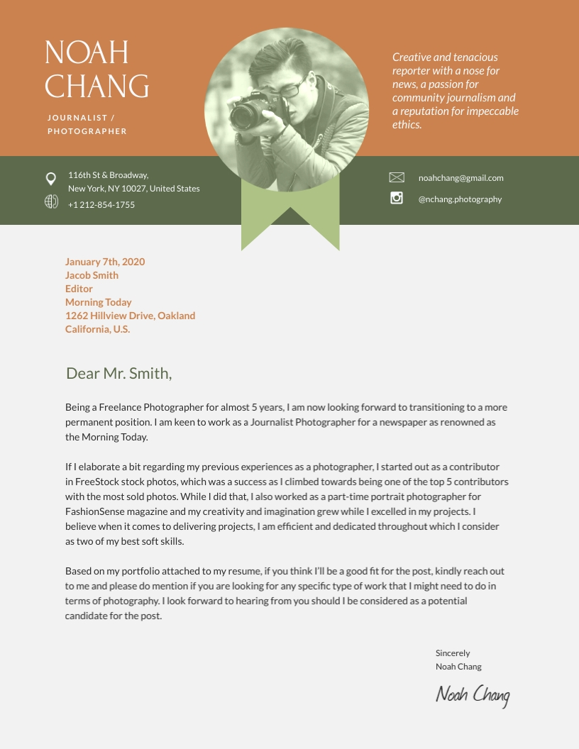 Journalist Photographer - Cover Letter Template