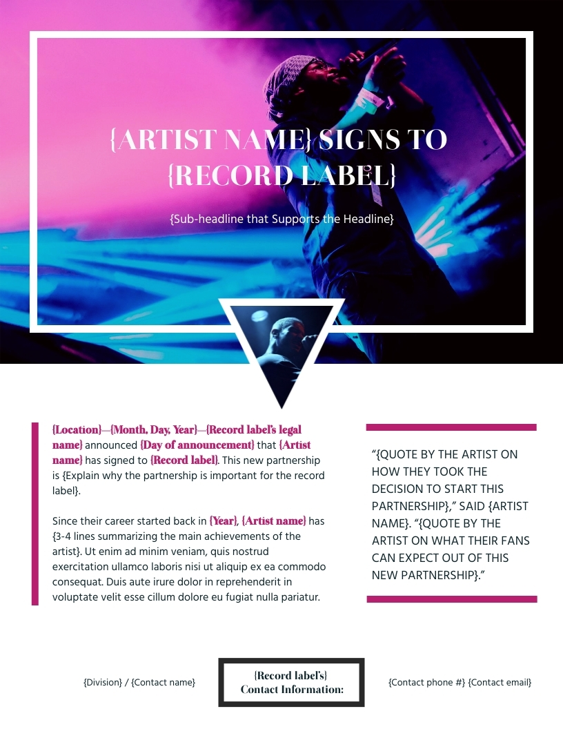 Label Signing - Press Release Template