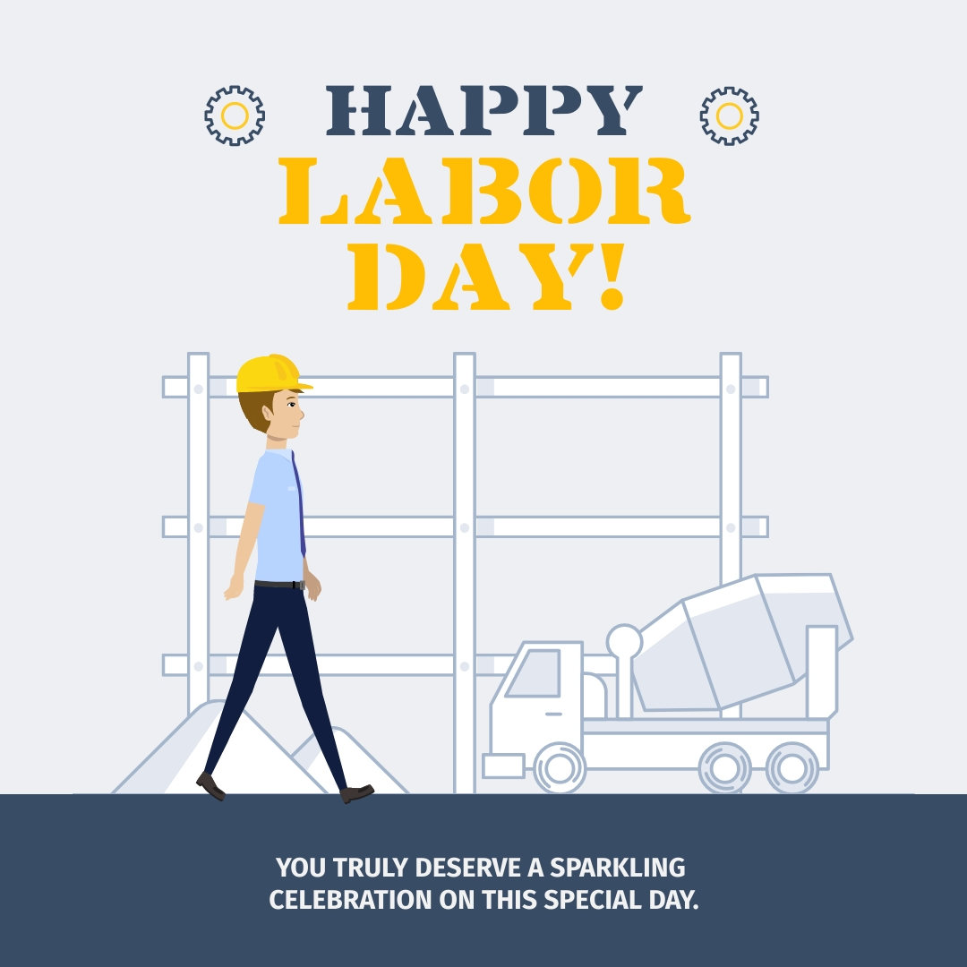 Labor Day Construction Animated Square Template
