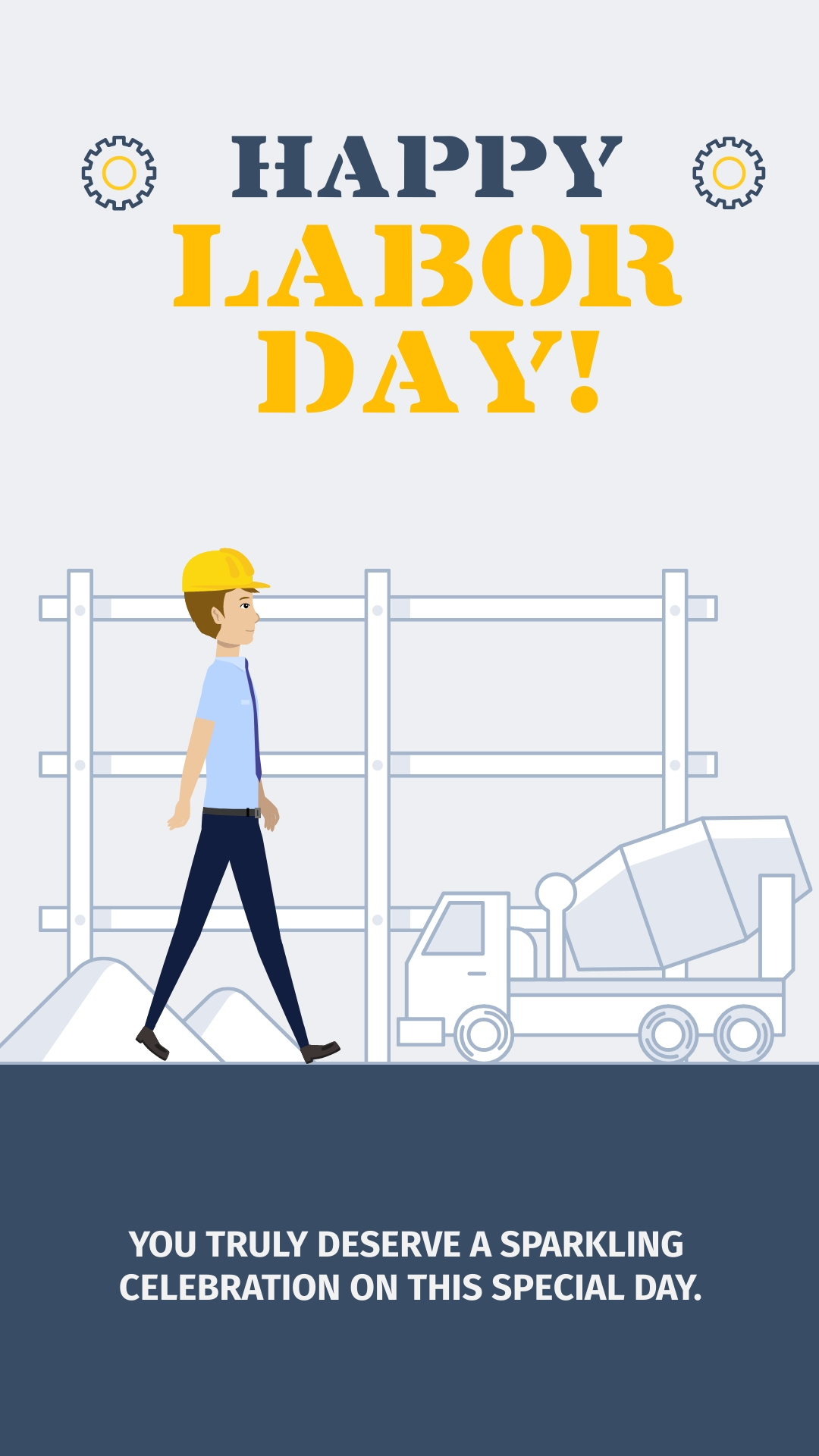 Labor Day Construction Animated Vertical Template